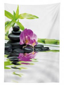 Mor Orkide ve Siyah Taş Temalı Masa Örtüsü Dekoratif