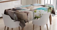 Mavi ve Beyaz Spa Temalı Masa Örtüsü Şık Dekoratif