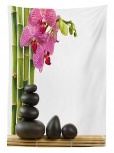 Orkide ve Siyah Taşlar Temalı Masa Örtüsü Dekoratif