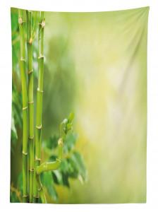 Yeşil Orman Manzaralı Masa Örtüsü Sarı Arka Plan