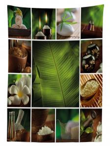 Dinlendirici Uzak Doğu Temalı Masa Örtüsü Şık Yeşil