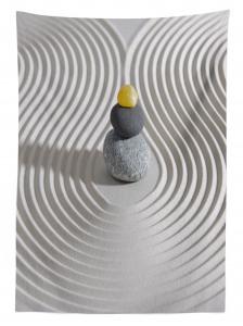 Kum Dalgaları ve Taş Temalı Masa Örtüsü Zen Bahçesi