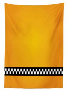 Şık Sarı Desenli Masa Örtüsü Siyah Beyaz Şeritli