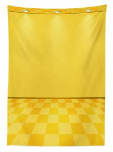 Spot Lambalı Sarı Desenli Masa Örtüsü Damalı Efektli