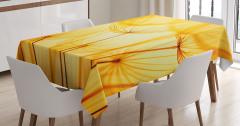 Dekoratif Sarı Çiçek Desenli Masa Örtüsü Ağ Efektli