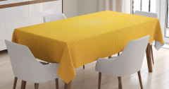 Sarı Beyaz Puantiye Desenli Masa Örtüsü Güneş Etkili
