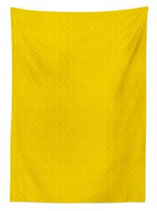 Çiçekli Duvar Kağıdı Desenli Masa Örtüsü Sarı Fon