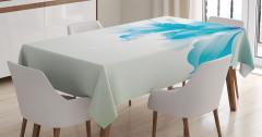 Beyaz Mavi Çiçek Desenli Masa Örtüsü Şık Çeyizlik