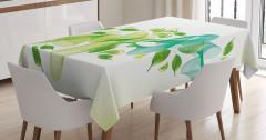 Yaprak ve Kurdele Desenli Masa Örtüsü Yeşil Mavi