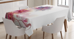 Turuncu Mor Çiçek Desenli Masa Örtüsü Beyaz Fonlu
