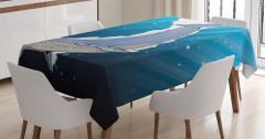Şık Deniz ve Balina Desenli Masa Örtüsü Mavi Beyaz