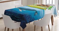 Kuru Kafa Balina ve Ada Desenli Masa Örtüsü Mavi