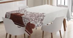Kahverengi Çiçek Desenli Masa Örtüsü Beyaz Fonlu