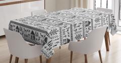 Antik Çiftçi Hayvan Desenli Masa Örtüsü Siyah Beyaz