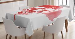 Kırmızı Kuru Kafa Temalı Masa Örtüsü Beyaz Sulu Boya