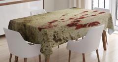 Kanlı El İzi Temalı Masa Örtüsü Kahverengi Kırmızı