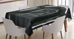 Uzay Gemisi Temalı Masa Örtüsü Gri Siyah 3D Etkili