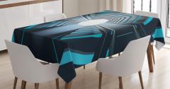 Mavi Işıklı Tünel Temalı Masa Örtüsü Siyah Uzay