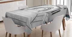 Uzay İstasyonu Temalı Masa Örtüsü Beyaz Bilim Mimari