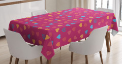 Sevgililer İçin Masa Örtüsü Kalp Desenli Kırmızı