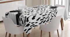 Siyah Beyaz Leopar Desenli Masa Örtüsü Şık Tasarım
