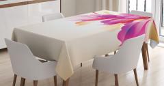 Krem Fonlu Çiçek Desenli Masa Örtüsü Mor Turuncu