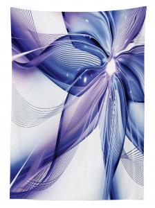 Lacivert Mor Çiçek Desenli Masa Örtüsü Cam Efektli