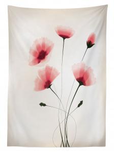 Pembe Zarif Çiçek Desenli Masa Örtüsü Şık Çeyizlik