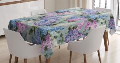 Çiçek Desenli Masa Örtüsü Mavi Pembe Şık Tasarım