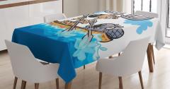Geyik ve Kunduz Desenli Masa Örtüsü Çocuk İçin Mavi