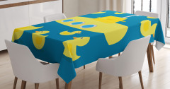 Lastik Ördek ve Denizaltı Temalı Masa Örtüsü Sarı