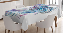 Mavi Denizanası Desenli Masa Örtüsü Şık Tasarım