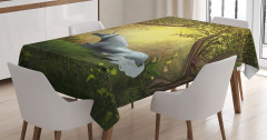 Perili Orman Temalı Masa Örtüsü Unicorn Yeşil Şık