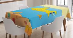 Deniz Altı Desenli Masa Örtüsü Sarı Mavi Çocuk İçin