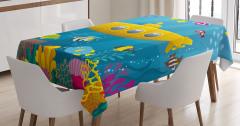 Sarı Deniz Altı Desenli Masa Örtüsü Balık Mavi Şık