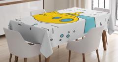 Sarı Deniz Altı Desenli Masa Örtüsü Mavi Beyaz Şık