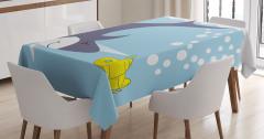 Köpek Balığı ve Deniz Altı Desenli Masa Örtüsü Mavi