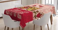 Aşık Baykuşlar Temalı Masa Örtüsü Pembe Kırmızı Şık