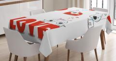Kalpli Köpek Desenli Masa Örtüsü Aşk Temalı Kırmızı