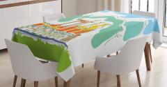 Çocuklar İçin Masa Örtüsü Sihirli Tren Temalı Yeşil