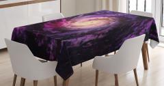 Uzay Temalı Masa Örtüsü Mor Kozmos Galaksi Evren