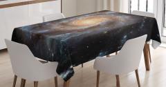 Kozmos Temalı Masa Örtüsü Gri Galaksi Uzay Evren