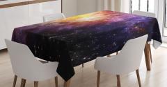 Mor Yıldız Desenli Masa Örtüsü Uzay Temalı Gökyüzü