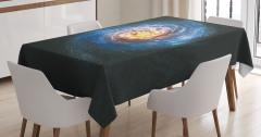 Kozmik Temalı Masa Örtüsü Sarmal Desenli Mavi Uzay