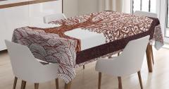 Kahverengi Ağaç Temalı Masa Örtüsü Şık Tasarım Trend