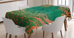 Ağaç ve Çiçek Desenli Masa Örtüsü Turuncu Yeşil Şık