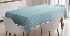 Mavi Beyaz Eğri Çizgili Masa Örtüsü Şık Tasarım