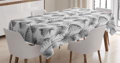 Palmiye Ağacı Desenli Masa Örtüsü Gri Dekoratif