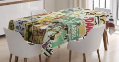 Yırtık Posterler Desenli Masa Örtüsü Kahverengi