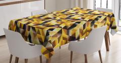 Geometrik Mozaik Desenli Masa Örtüsü Dekoratif Sarı